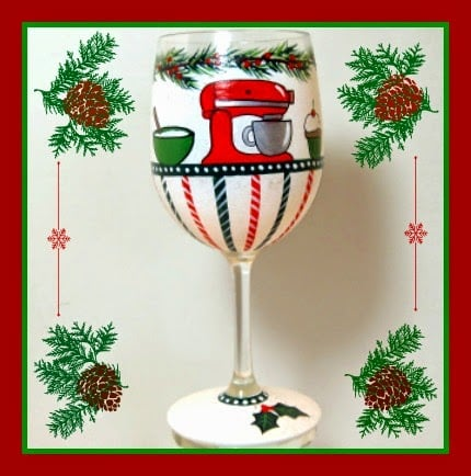 Hand Painted Kitchen Aid Themed Stand Mixer Wine Glass - kudoskitchenbyrenee.com