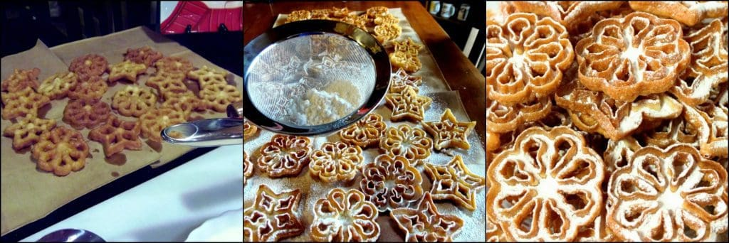 How to make Fried Snowflake Rosette Cookies with Confectioners Sugar Dusting photo tutorial - kudoskitchenbyrenee.com