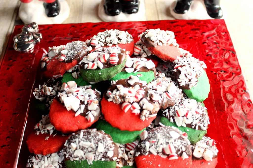 Peppermint Shortbread Cookies Dipped in Chocolate - kudoskitchenbyrenee.com
