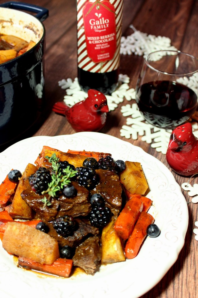 Holiday Braised Short Ribs with Carrots, Parsnips and Berries