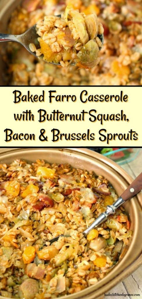 Baked Farro Casserole with Butternut Squash, Bacon & Brussels Sprouts is a dish that could (and should) become a family staple on your Thanksgiving table. Not only is it delicious and nutritious, it features all those lovely fall colors which are a feast for your eyes as well as your taste buds. - kudoskitchenbyrenee.com