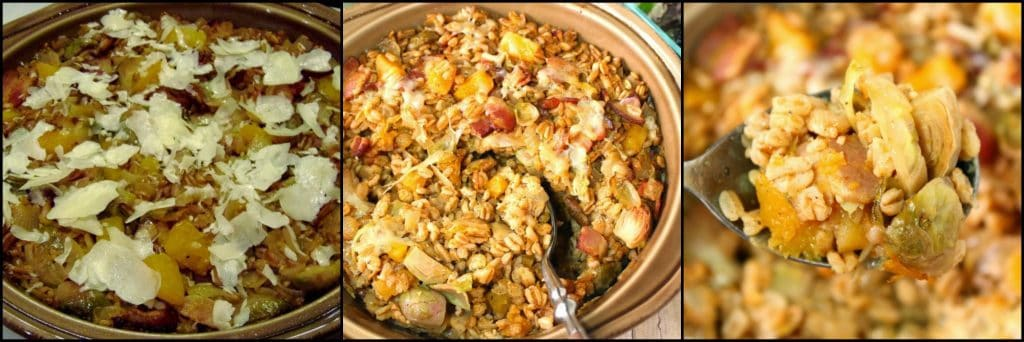 How to make Baked Farro Casserole with Butternut Squash, Bacon & Brussels Sprouts photo tutorial. - kudoskitchenbyrenee.com