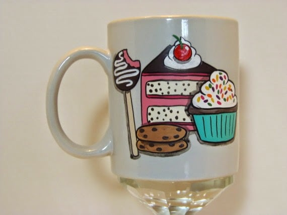 Sweets Lover Painted Coffee Mug / www.kudoskitchenbyrenee.wazala.com