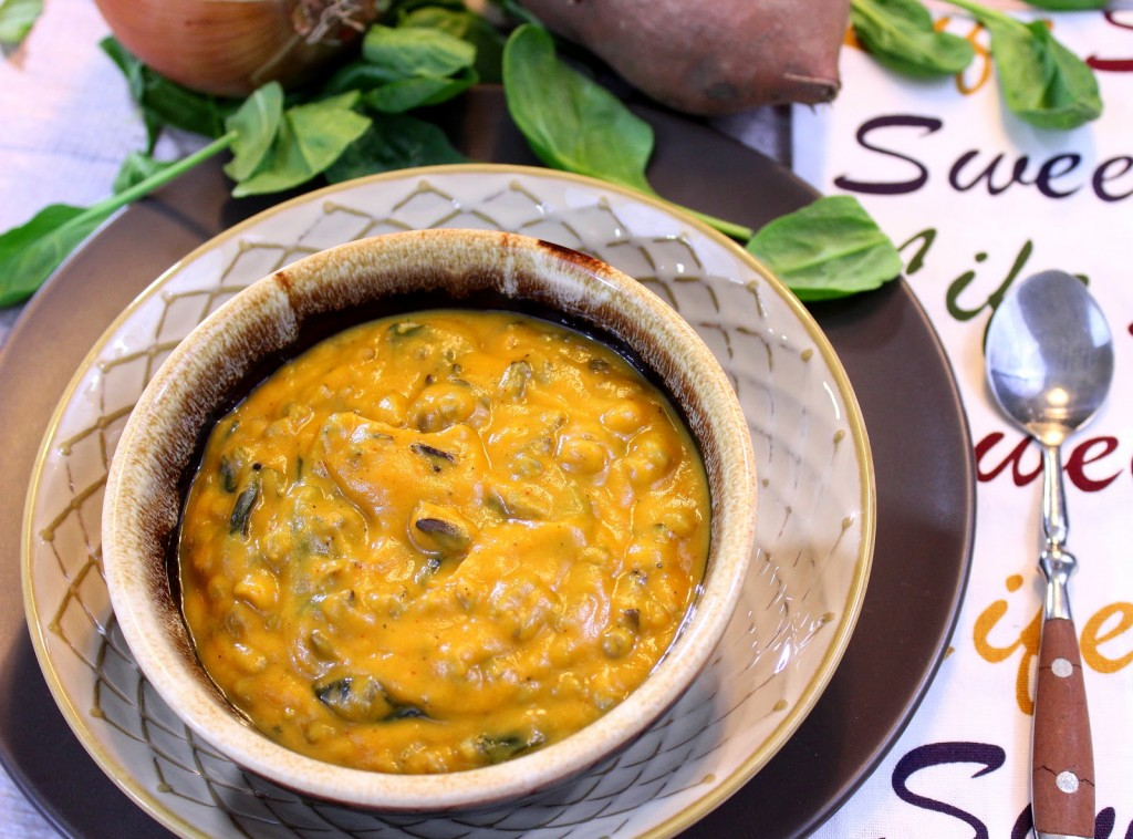 Thick, hearty and delicious! This Roasted Sweet Potato and Wild Rice Chowder will warm your soul and tickle your taste buds.