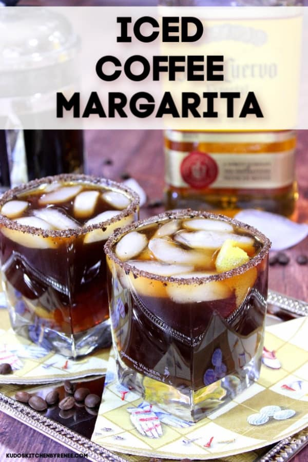 Title text image of iced coffee margaritas