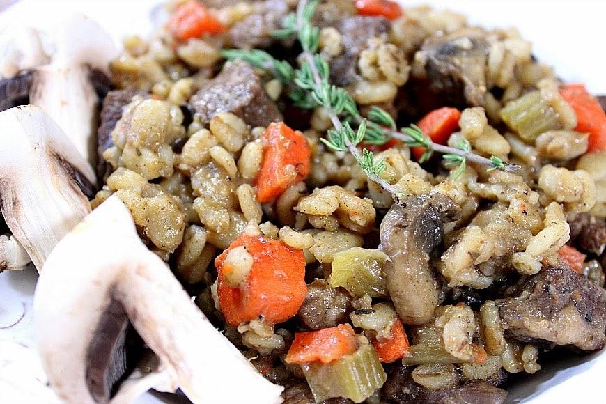 Beef Barley Mushroom Stew Recipe - www.kudoskitchenbyrenee.com