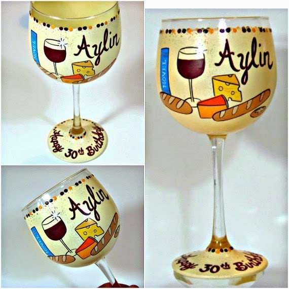 Hand Painted wine and cheese wine glass - kudoskitchenbyrenee.com
