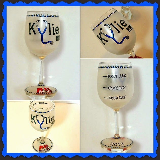 RN Custom Painted Wine Glass - Kudos Kitchen by Renee