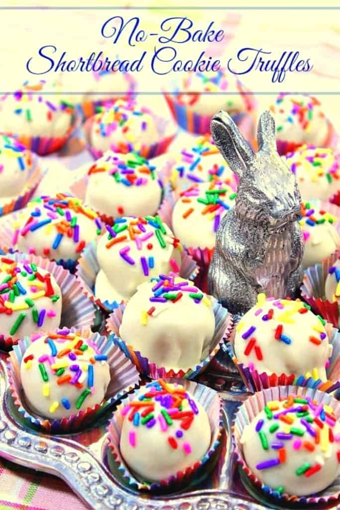 Colorful shortbread cookie truffles on a plate with a bunny.