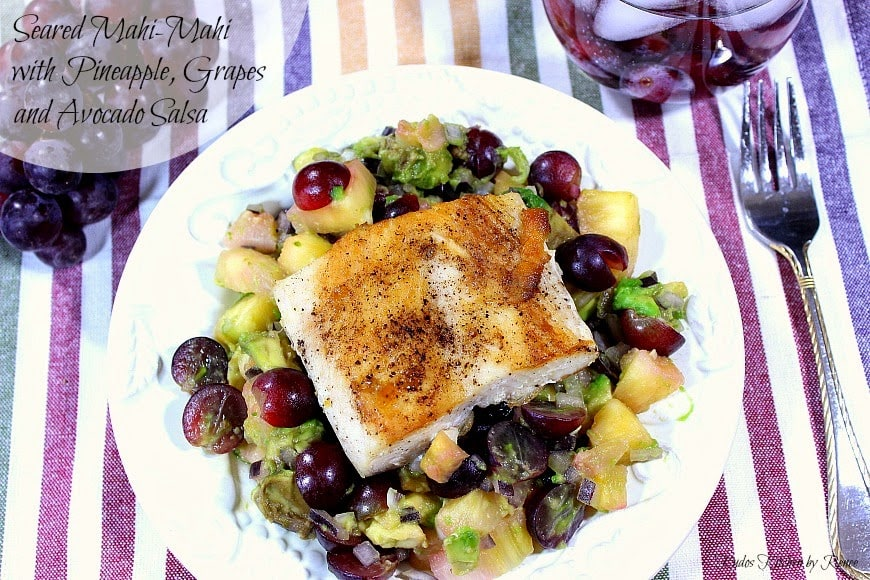Tropical Seared Mahi-Mahi with Pineapple, Grape & Avocado Salsa - www.kudoskitchenbyrenee.com