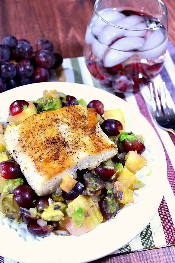 Tropical Seared Mahi Mahi with Pineapple, Grape and Avocado Salsa Recipe - www.kudoskitchenbyrenee.com