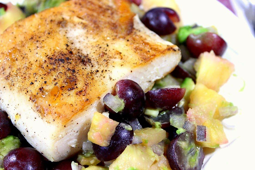 Tropical Seared Mahi-Mahi with Pineapple, Grape and Avocado Salsa Recipe - www.kudoskitchenbyrenee.com