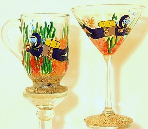 Hand Painted Scuba Diver coffee mug and martini glass - www.kudoskitchenbyrenee.wazala.com