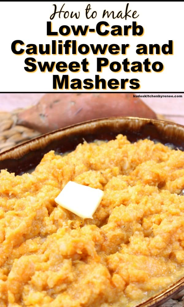 Vertical title text image of cauliflower sweet potato mashers. Popular Thanksgiving side dish recipe roundup
