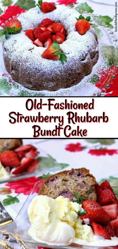 Vertical title text collage of a bundt cake with fresh strawberries and ice cream.
