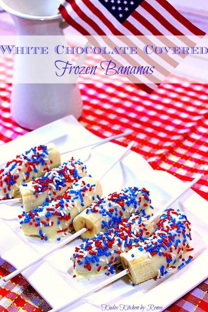 Patriotic White Chocolate Covered Frozen Bananas - kudoskitchenbyrenee.com