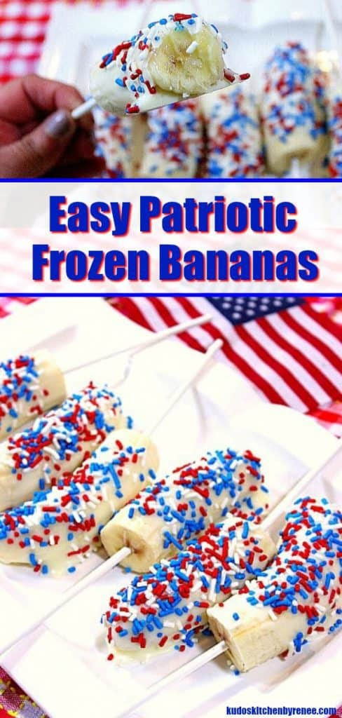 A photo collage of white chocolate covered bananas for the 4th of July with sprinkles and flags.