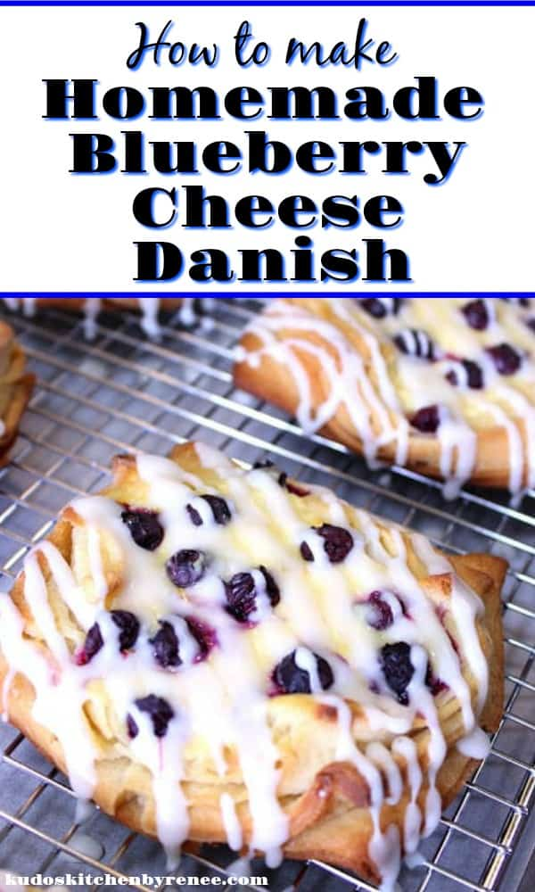 Vertical Title Text Image of blueberry cheese danish with icing