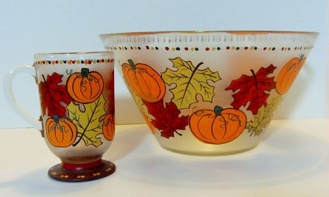 Autumn Leaves and Pumpkins Painted Bowl and Coffee Mug