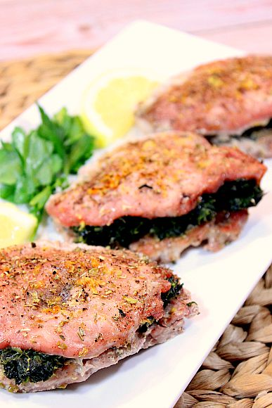 Spinach and Feta Greek Stuffed Pork Chops