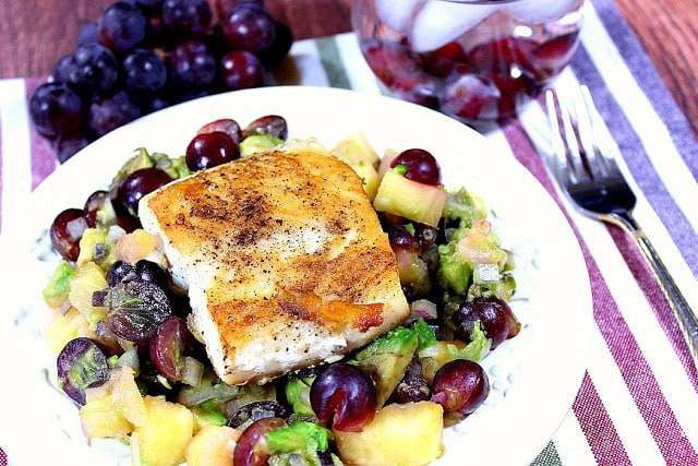Seared Mahi-Mahi with Pineapple, Grape and Avocado Salsa