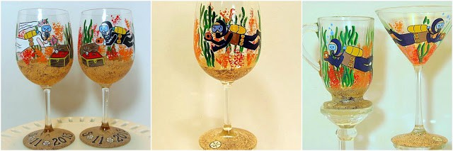 Scuba Diver Hand Painted Glassware