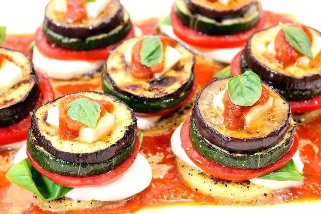 Grilled Garden Harvest Polenta Stacks