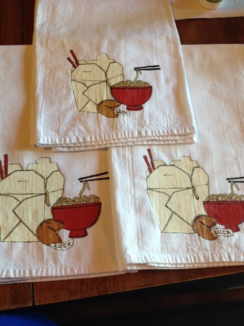 Hand Painted Asian Noodle Bowl Tea Towels - Kudos Kitchen by Renee