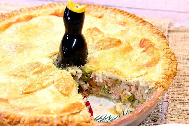 Homestyle Pork Pot Pie with a pie bird - kudoskitchenbyrenee.com