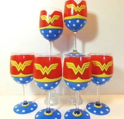 Wonder Woman Hand Painted Wine Glasses
