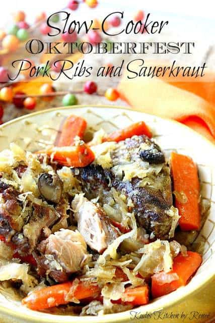 Vertical title text image of German Pork Ribs in a bowl with carrots and sauerkraut