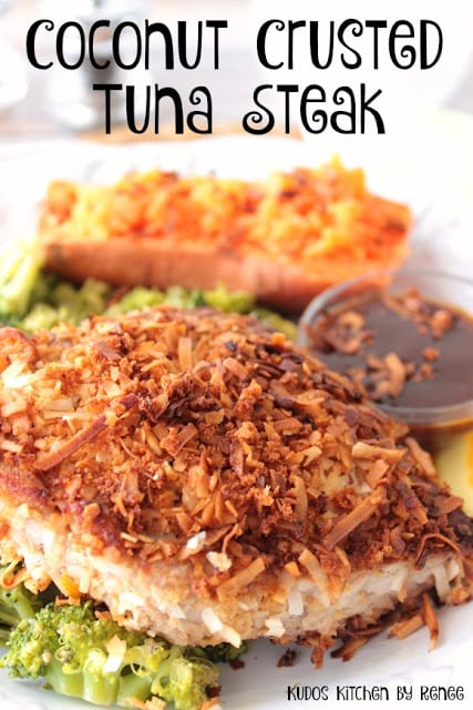 Title text image of coconut tuna steak with a sweet potato in the background and broccoli underneath,.