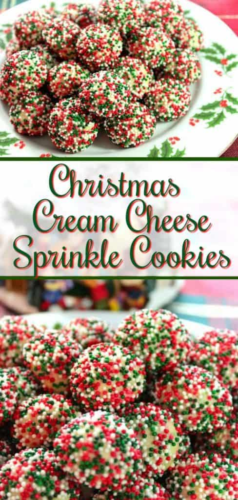 Vertical title text collage image of cream cheese sprinkle cookies on a Christmas plate with holly.