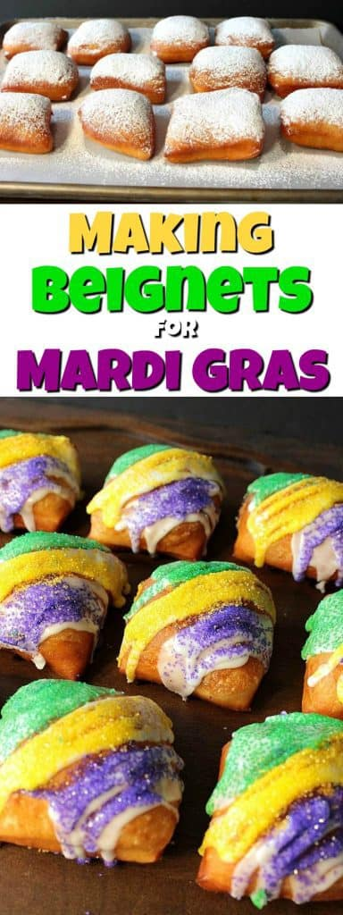 Purple, Green, and Gold Homemade Beignets long title collage image