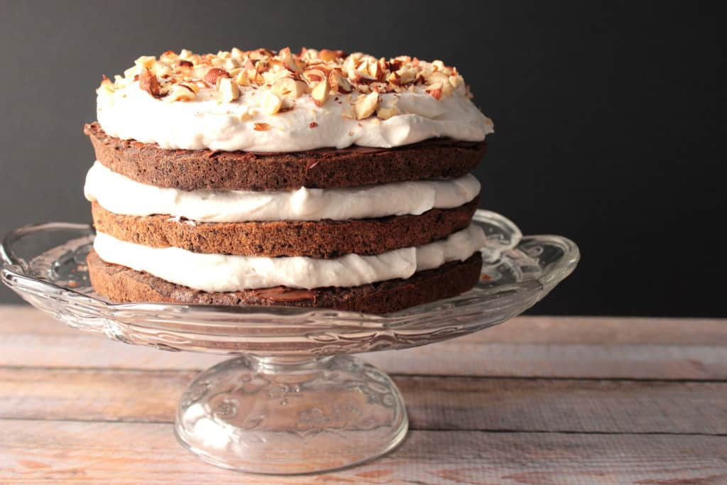 Hazelnut Meringue Cake with Chocolate and Whipped Cream