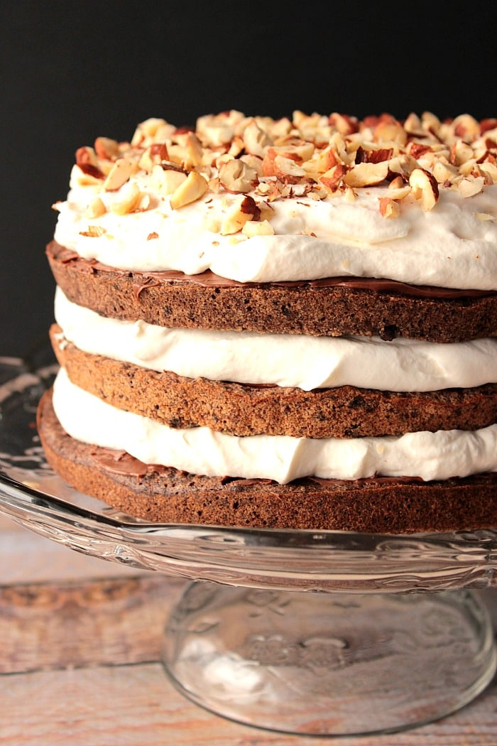 Hazelnut Cake with Chocolate and Whipped Cream