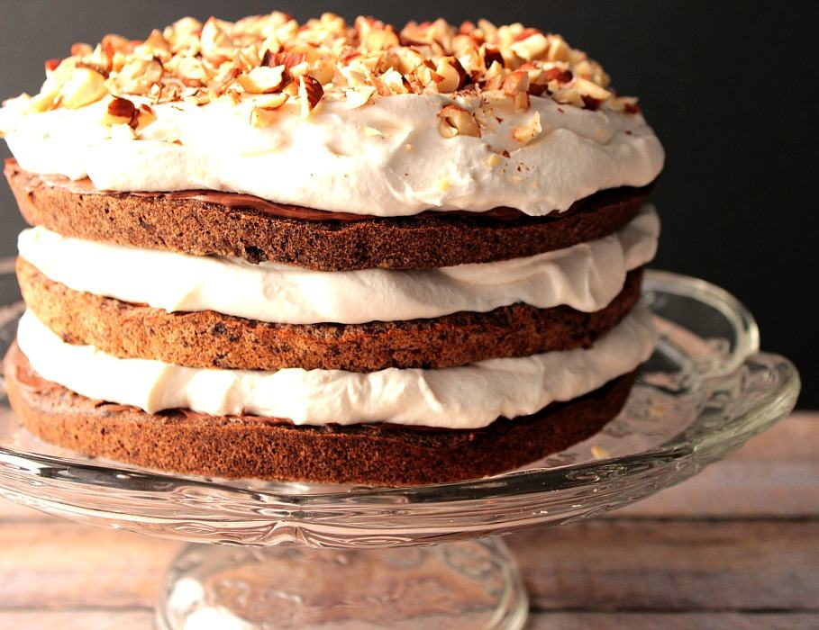Chocolate Hazelnut Cake with Whipped Cream