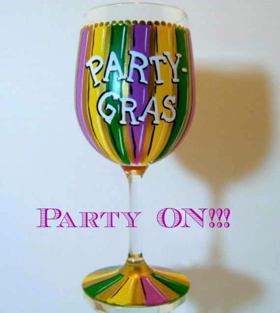 Mardi Gras hand painted wine glass - kudoskitchenbyrenee.com