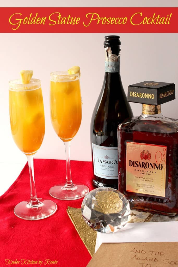 This Golden Statue Prosecco Cocktail is all dressed up and ready to party out on the red carpet.