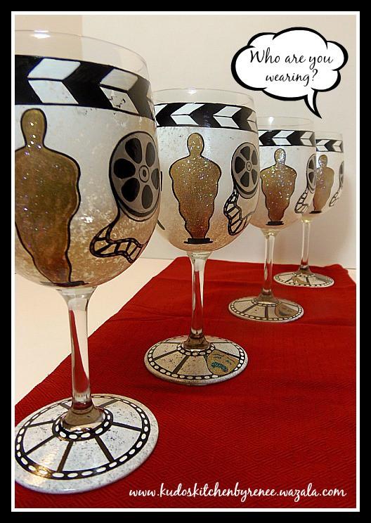 Hand Painted Oscar Wine Glasses