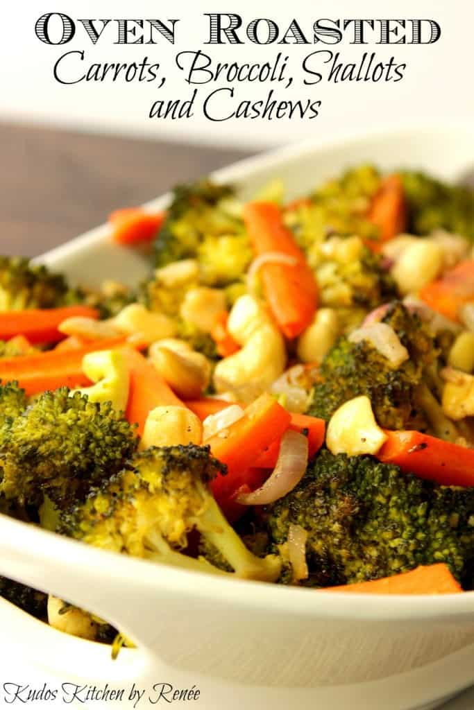 Title text image of broccoli and carrots in a bowl with shallots and cashews
