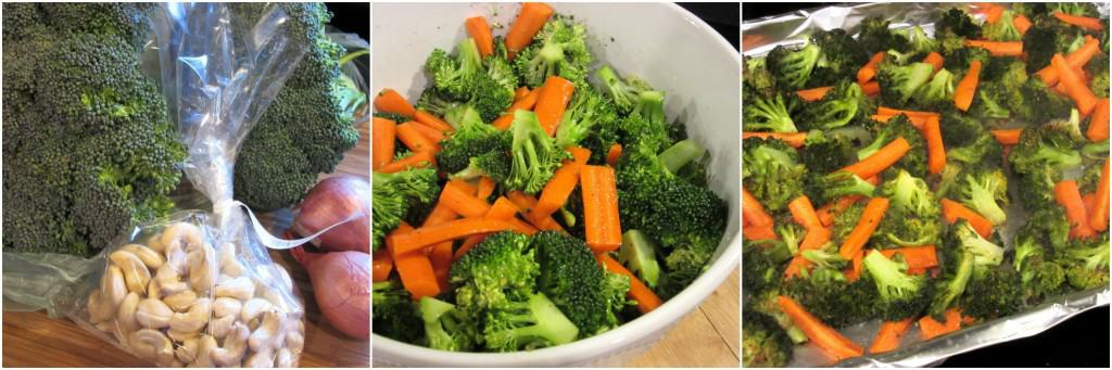How to make roasted carrots, broccoli, shallots, and cashews photo tutorial.