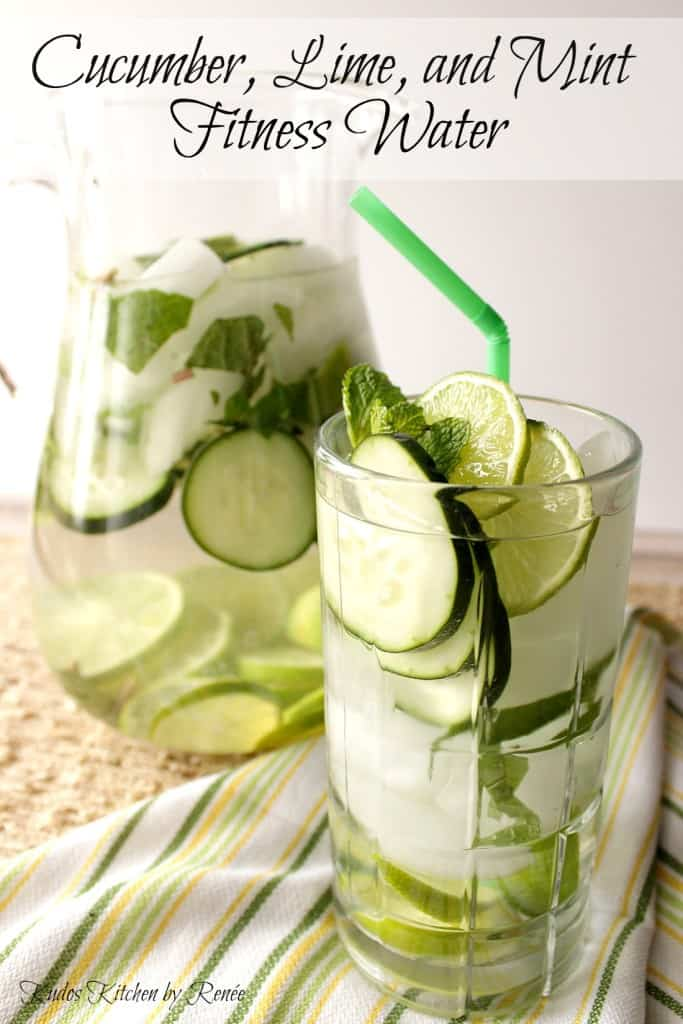 Vertical title text image of a pitcher and a glass filled with cucumber lime fitness water with slices of fruit, veggies, and ice.