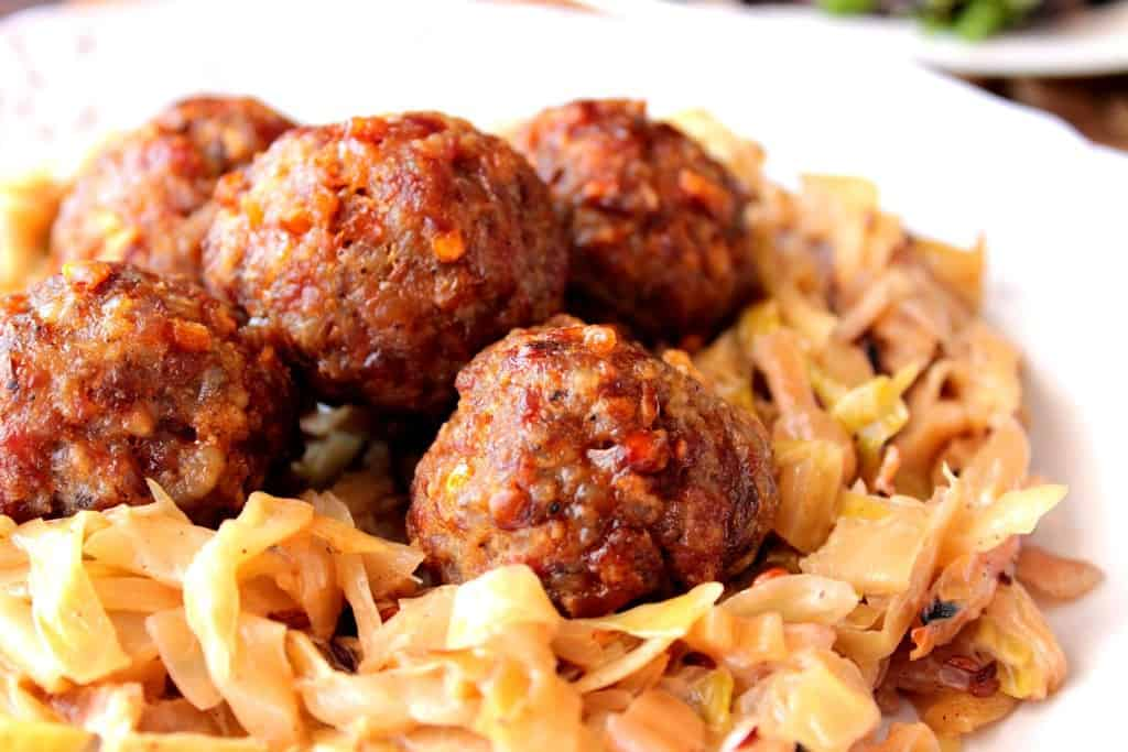 Creamed cabbage with caraway and pork Dijon Meatballs
