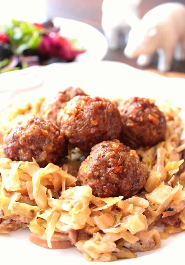 Pork Meatballs with Creamed Cabbage