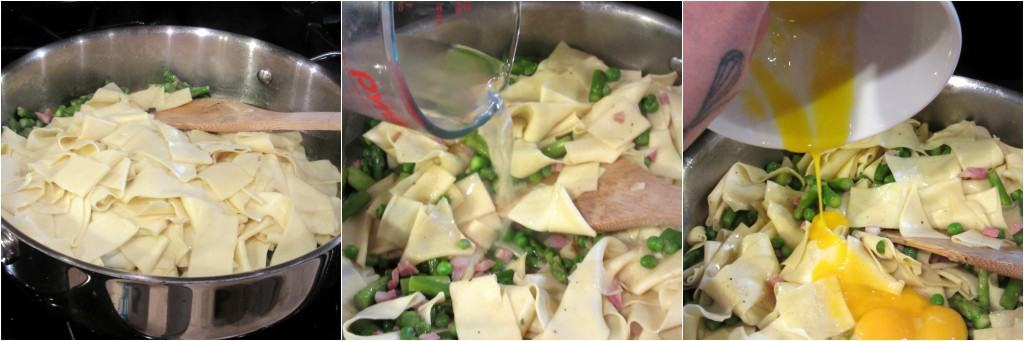 How to make pappardelle with peas, asparagus and mint.