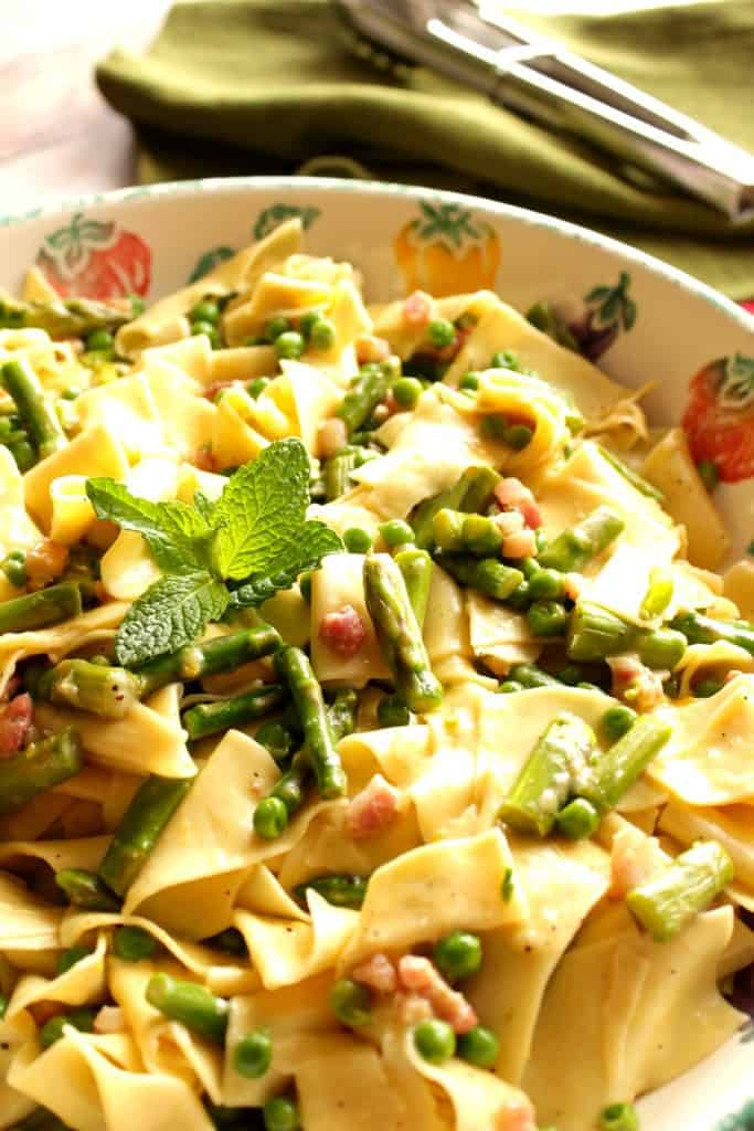 The fresh flavors of spring burst forth in this easy to make dish of Pappardelle with Peas, Asparagus, and Mint.