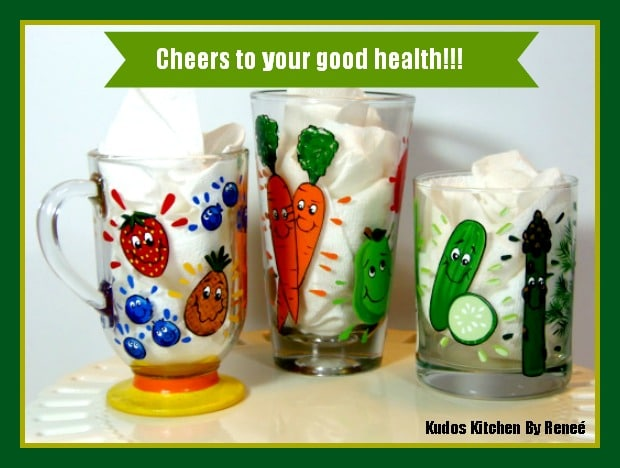 These fun and whimsical hand painted smoothie glasses are sure to put a smile on your face.
