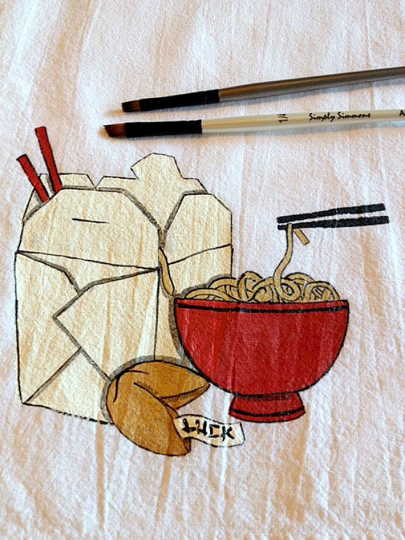 Noodle Bowl Hand Painted Fabric