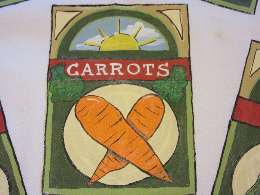 Vegetable Seed packet hand painted apron - kudoskitchenbyrenee.com